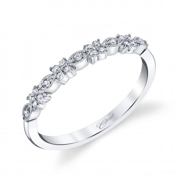 14KW Milgrain Diamond Band .13ct tw 21 Round Diamonds