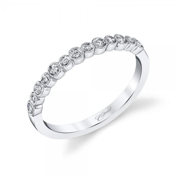 14KW  Milgrain Diamond Band .09ct tw 21 Round Diamonds