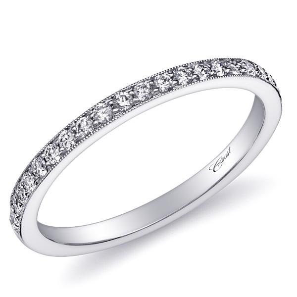 14KW  Milgrain Diamond Band .20ct tw 21 Round Diamonds