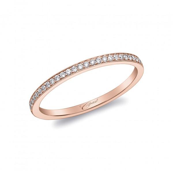 14KR  Milgrain Diamond Band .09ct tw 21 Round Diamonds