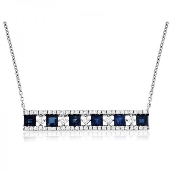 1KW Sapphire & Diamond Bar Necklace