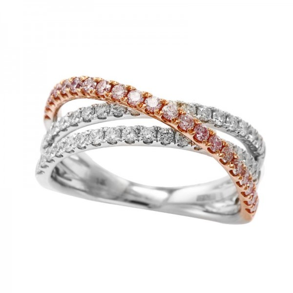 14K White & Rose Gold Diamond Fashion Ring White and Pink Diamonds. 086 TCW