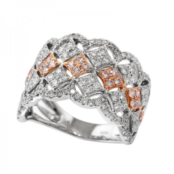 Lady's 14KW & Rose Gold Fashion Ring with 140=1.54tw Round Diamonds