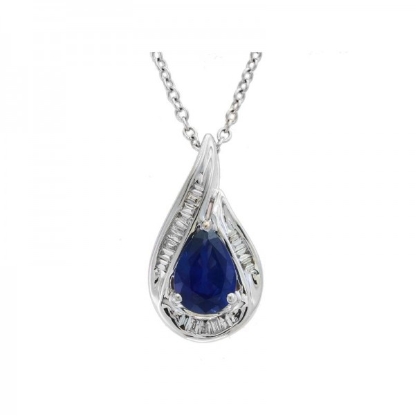 Lady's 14KW Gold Pendant with 0.61ct Sapphire and 14=0.10tw Baguette Diamonds