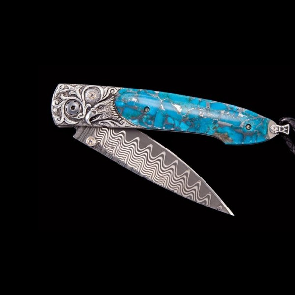 William Henry Lancet Majesty Hand Carved Sterling by Lee Downey inlaid with Zinc Turquoise with Wave Damascus Blade