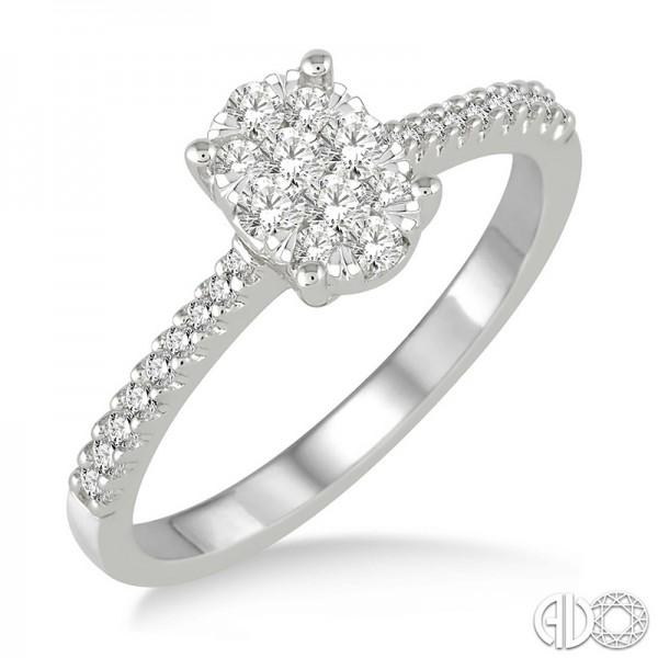 14k White Gold oval shape lovebright cluster ring