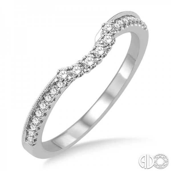 14K White Gold Wedding Band w/Brilliant Cut Diamonds 0.35 ctw