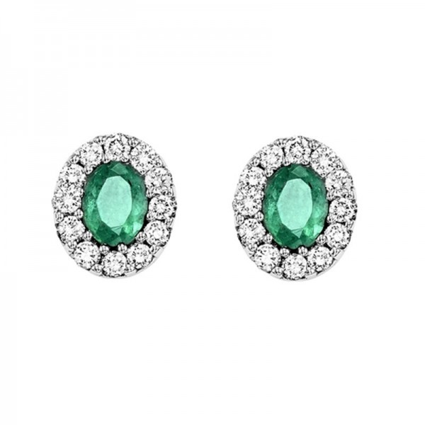 14kw emerald and diamond earring