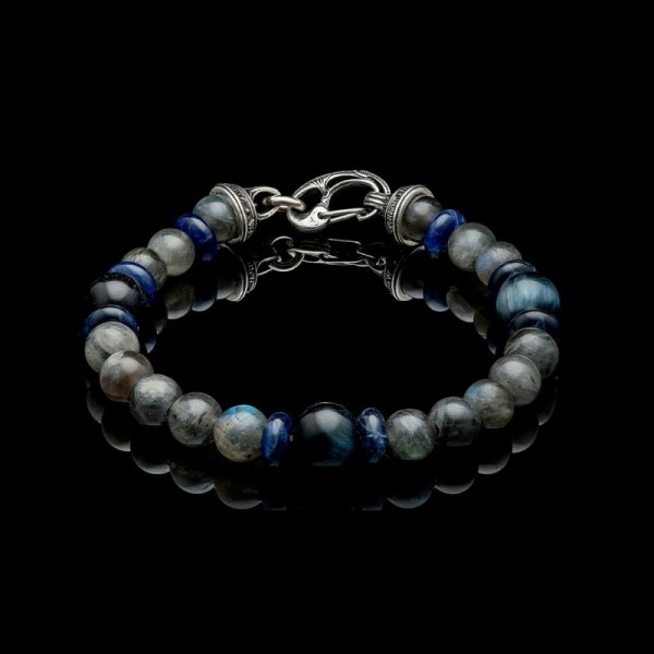 William Henry Magician Sterling Clasp on Labradorite and Sodalite Beads bracelet