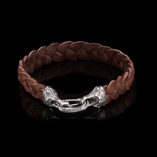 William Henry Hunter Braided Leather and Sterling Bracelet
