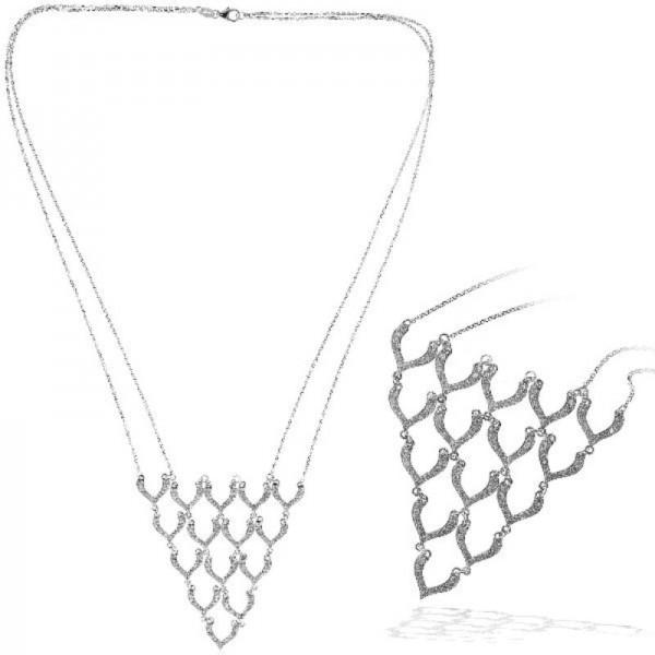Ryan Gems 14K White Triangle Fan Diamond Necklace