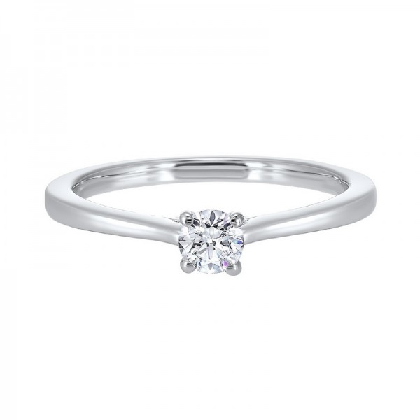 14K White Gold Diamond Solitaire Engagement Ring with one Round Diamond at  .50 ct