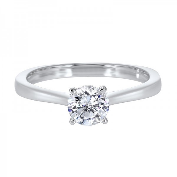 14K White Gold Diamond Solitaire Engagement Ring with one Round Diamond at  1.00 ct