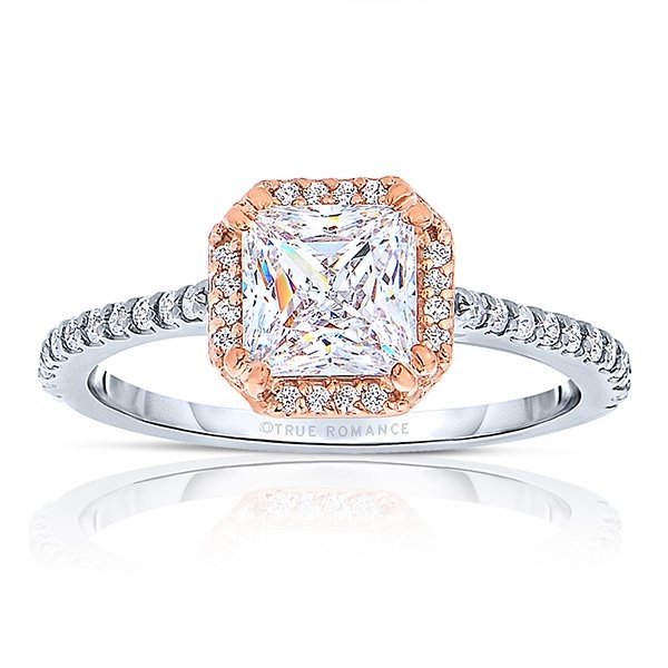 True Romance 14K W&R Halo Engagement Ring
