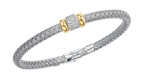 Sliver Ridged Weave Bangle With .29Ctw Diamond Station And 18K Gold Rondells