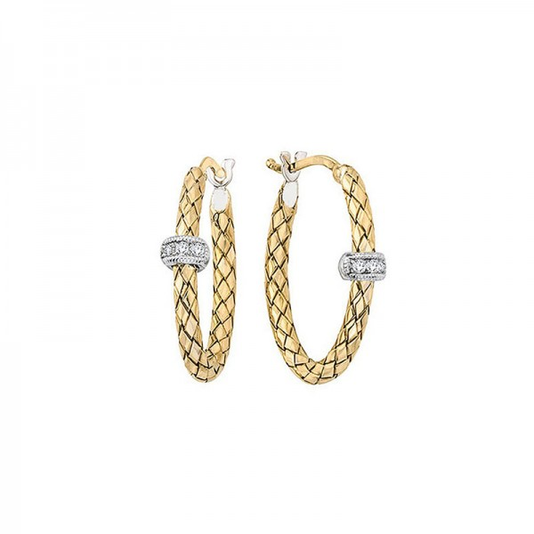 18K Yellow Gold And Sterling Silver And .06 Cttw Diamonds Oval Shaped Earrings