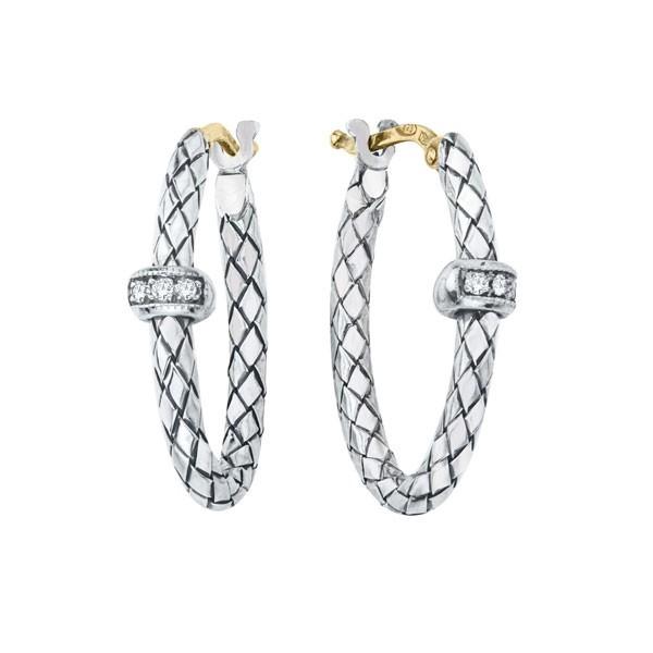 18K/Sterling Silver Oval Traversa Hoop Earrings With .06Ctw