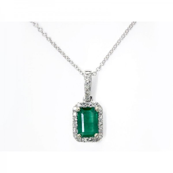 14KW Emerald and Diamond Pendant